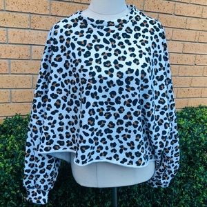Loose Casual Leopard print Round neck Long sleeve